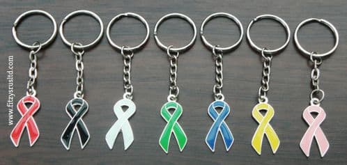 Awareness Ribbon Keyring Black Blue Green Pink White Red Yellow Bow Key Ring