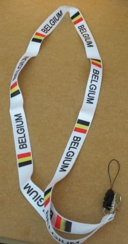 Belgium Belgian Flag Lanyard Neck Strap 4 Mobile MP3 IPOD Conference Pass