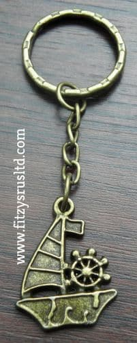 Boat Keyring Key Ring Sailor Rudder Nautical