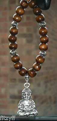 Buddha Buddhism In Car Pendant & Wood Wooden Beads Buddhist Charm Sacred