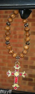 Christian Holy Cross Pendant & In Car Wood Wooden Beads Burgundy Goldtone Charm