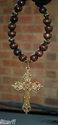 Christian Holy Cross Pendant & In Car Wooden Beads Gold-tone Religious Charm