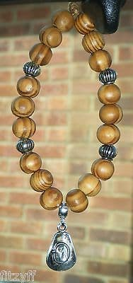 Cowboy Cowgirl Hat Pendant & In Car Wooden Beads Country & Western Rodeo Charm