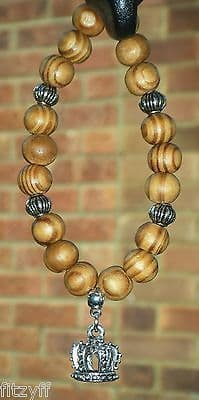 Crown Pendant & In Car Wood Wooden Beads Charm Royal