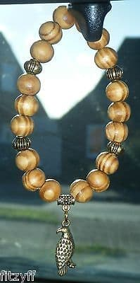 Eagle Pendant & In Car Wood Wooden Beads Bird of Prey Gold-tone Charm
