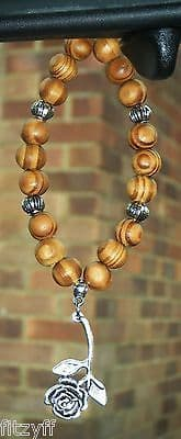 English Rose Pendant In Car & Wood Wooden Beads Flower Charm