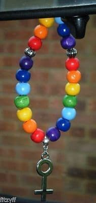 Female Symbol LGBT Pendant & In Car Wood Wooden Beads Gay Pride Sign Charm