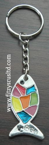 Fish Ichthys Christian Keyring Ichthus Ikhthus Coloured Key Ring