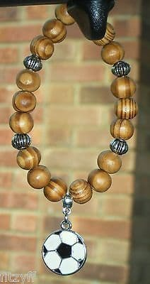 Football Pendant & In Car Wood Wooden Beads Soccer Charm