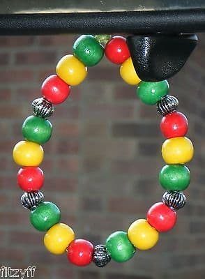 Ghana Ghanian Country Flag In Car Hanging Coloured Wood Wooden Beads
