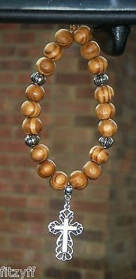 Holy Christian Cross Pendant & In Car Wood Wooden Beads Jesus Religious Charm