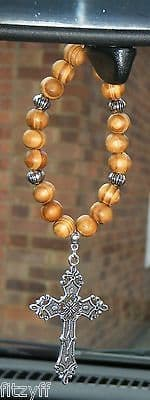 Holy Cross Christian Pendant & In Car Hanging Wood Wooden Beads Sacred Charm