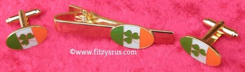 Ireland Flag Shamrock Cuff Links & Tie Bar Clip Clasp Gaelic Irish Cufflink Set