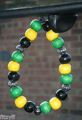 Jamaica Jamaican Country Flag In Car Hanging Coloured Wood Wooden Beads