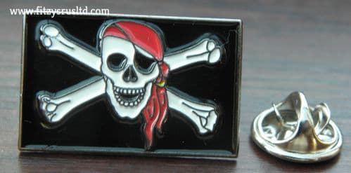 Jolly Roger Flag Lapel Hat Tie Pin Badge Rebel Biker Skull & Crossbones