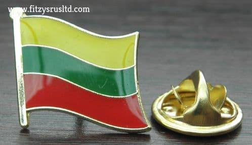 Lithuania Lithuanian Country Flag Lapel Hat Tie Pin Badge Lietuvos Respublika