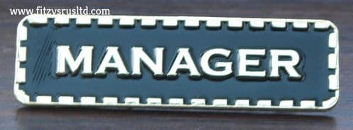 Manager Lapel Pin Badge Black & Gold Colour Sign Metal Brooch