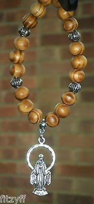 Mary Mother of Jesus Pendant & In Car Wooden Beads Holy Miriam Maryam Maryām