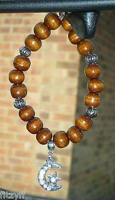 Moon & Star Crescent Pendant & In Car Wood Wooden Beads Islam Muslim Charm