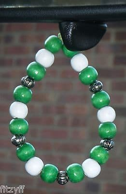 Nigeria Nigerian Country Flag In Car Hanging Wood Wooden Beads