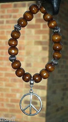 Peace CND Pendant & In Car Wood Wooden Beads Nuclear Disarmament Anti War Charm