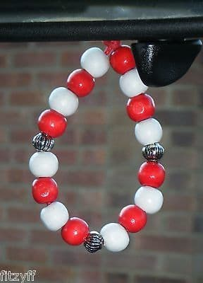 Red & White In Car Hanging Wood Wooden Beads Pendant Football Rugby Team