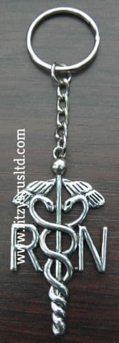 Registered Nurse RN Keyring Caduceus Medical Symbol Key Ring