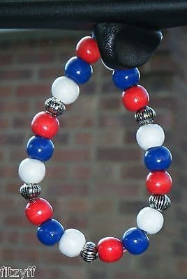 Russia Russian Country Flag In Car Hanging Wood Wooden Beads Coloured