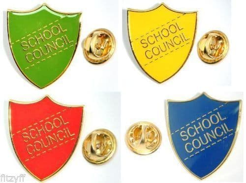 School Council Shield Metal Lapel Pin Badge Brooch Red Blue Green or Yellow