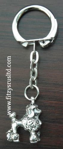 Small Poodle Dog Metal Keyring Key Ring Caniche Barbone Gift Souvenir