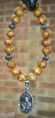 St Gerard Pendant & In Car Wood Wooden Beads Saint Charm Religious Holy Sacred