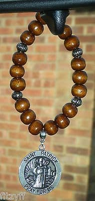 St Patrick Pendant & In Car Wood Wooden Beads Saint of Ireland Charm Apostle