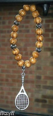 Tennis Racket Pendant & In Car Wood Wooden Beads Charm Wimbledon