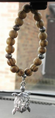Tortoise Pendant & In Car Coffee Stripe Wood Wooden Beads Charm