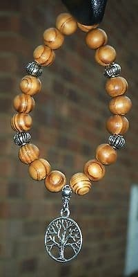 Tree of Life Pendant & In Car Wood Wooden Beads Charm