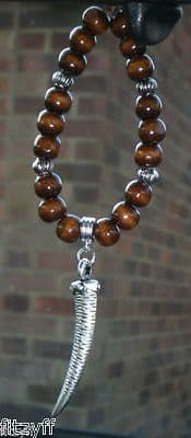 Tusk Pendant & In Car Wood Wooden Beads Tooth Horn of Plenty Charm