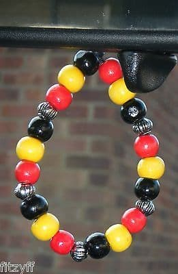 Uganda Country Flag In Car Hanging Coloured Wood Wooden Beads Pearl of Africa