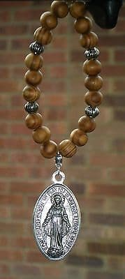 Virgin Mary Pendant & In Car Wood Wooden Beads Holy Mother of Jesus Charm