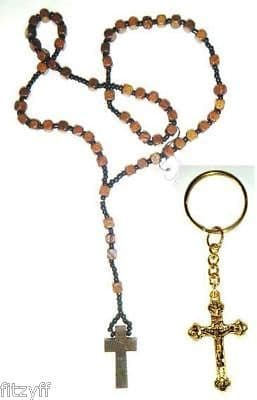Wooden Rosary Necklace & God Crucifix Keyring Religious