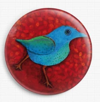 Blue Bird on Red By Kim Ellery Licensed Art Needle Minder
