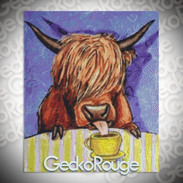 Scottish Highland Cow Drinking Coffee By Jay Schmetz Counted Cross Stitch Kit