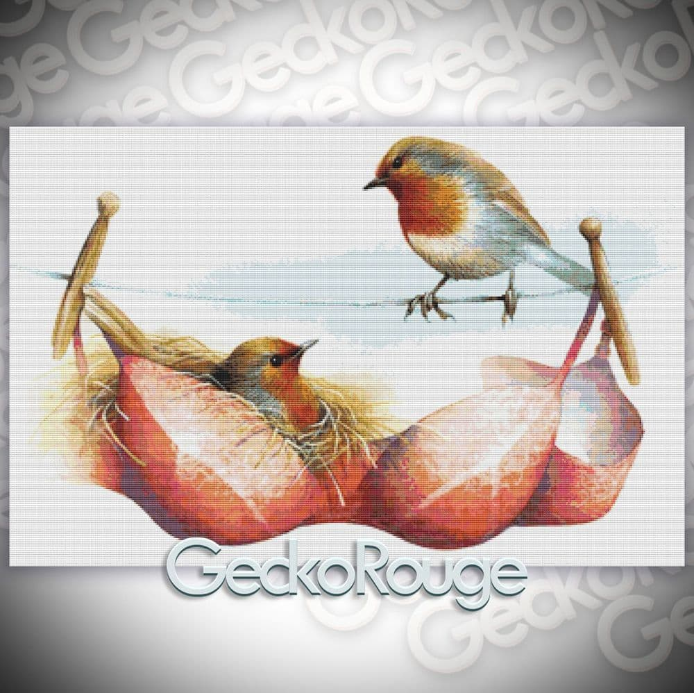 A Pair of Red Breasts by David Finney Modern Cross Stitch Art Kit