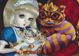 Alice and the King Cheshire By Simona Candini Cross Stitch Kit