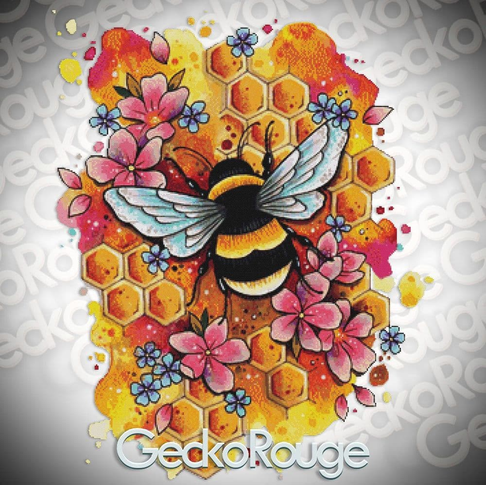Bee by Lorna Laine Fine Art Modern Counted Cross Stitch Art Kit  [READY TO SHIP]