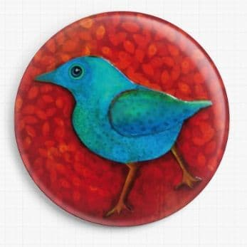 Blue Bird on Red By Kim Ellery Licensed Art Needle Minder (2)