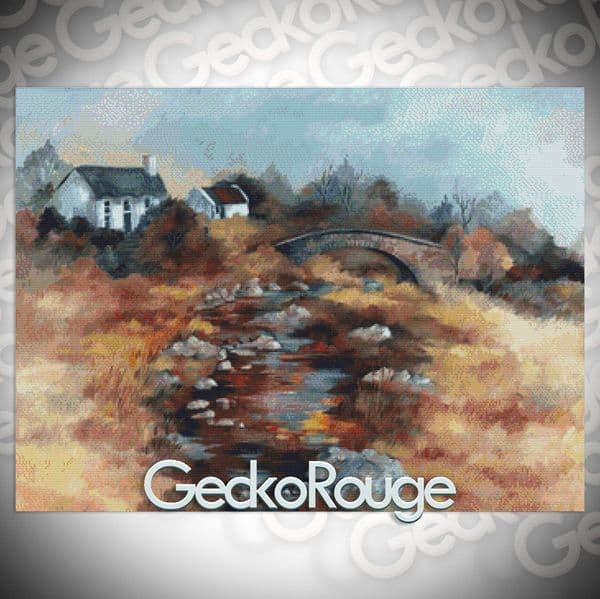 Bridge Cottage Cross Stitch Kit  By Anne Muller