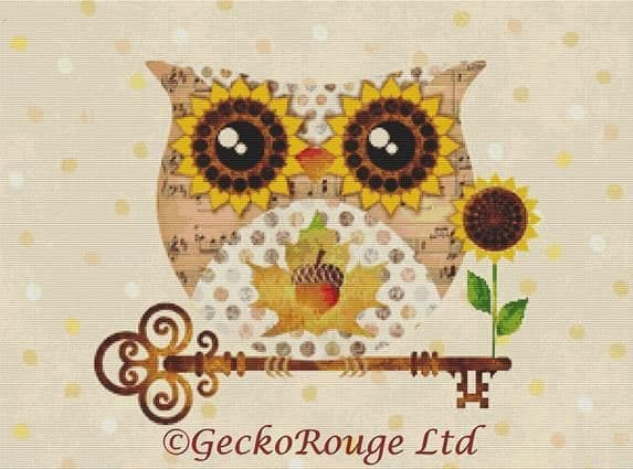 Buho Owl Fall by Sandra Vargas Cross Stitch Kit (SVBHFALL)