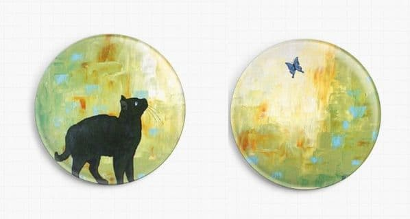 Cat and Butterly Set By Robert Bretz Licensed Art Needle Minder