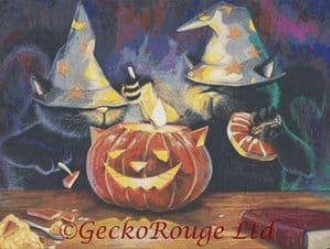 Cat O Lantern By David Smith Cross Stitch Kit - Halloween