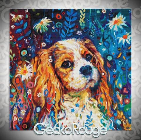 Cavalier Spaniel by Sue Gardner Modern  Cross Stitch Art Kit